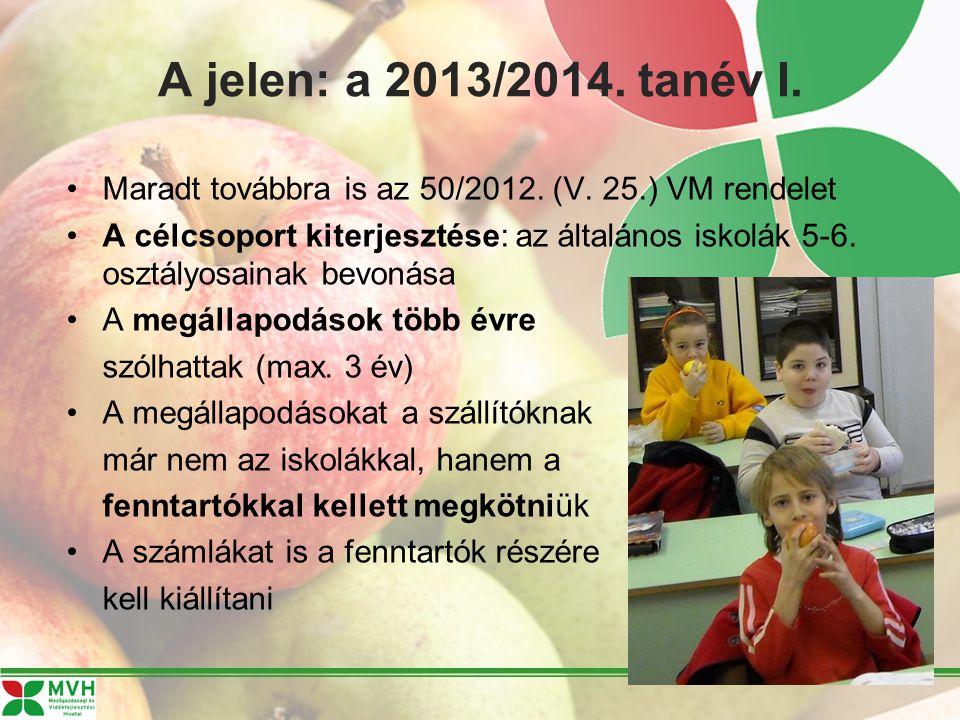 A jelen: a 2013/2014. tanév I. Maradt továbbra is az 50/2012. (V. 25.) VM rendelet A célcsoport kiterjesztése: az általános iskolák 5-6. osztályosaina