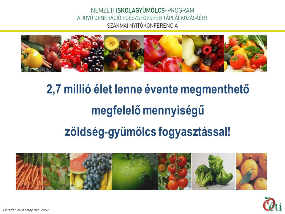 2,7 millió élet lenne évente megmenthető megfelelő mennyiségű zöldség-gyümölcs fogyasztással.