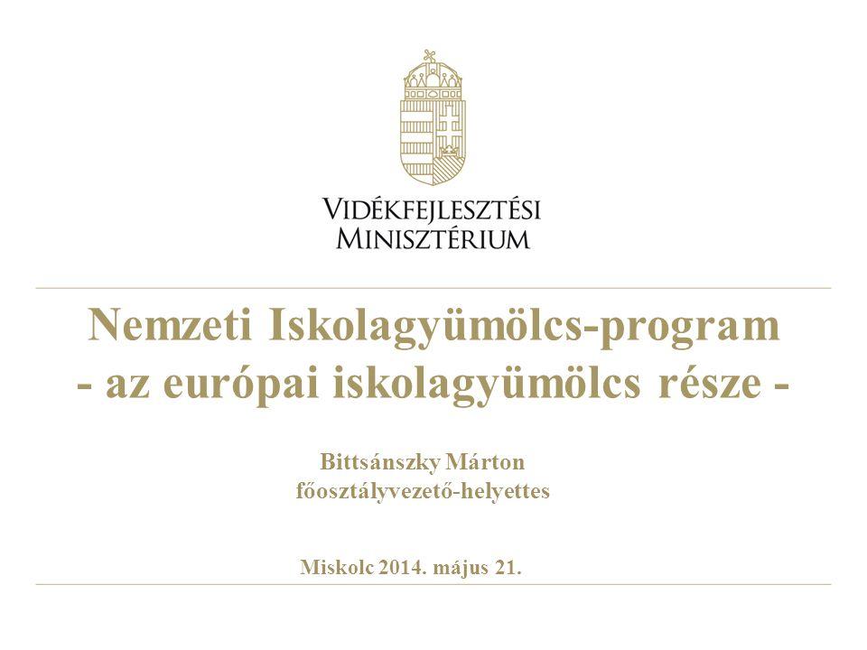 Nemzeti Iskolagyümölcs-program - az európai iskolagyümölcs része - Bittsánszky Márton főosztályvezető-helyettes Miskolc 2014. május 21.