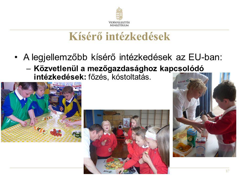 17 Kísérő intézkedések A legjellemzőbb kísérő intézkedések az EU-ban: –Közvetlenül a mezőgazdasághoz kapcsolódó intézkedések: főzés, kóstoltatás.