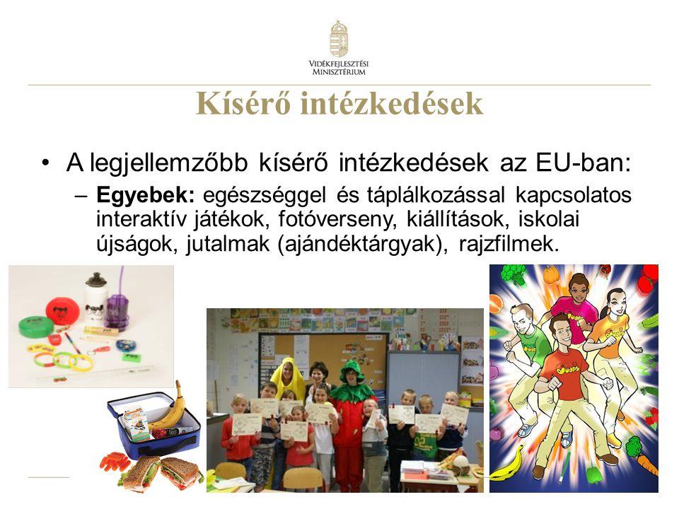 19 Kísérő intézkedések A legjellemzőbb kísérő intézkedések az EU-ban: –Egyebek: egészséggel és táplálkozással kapcsolatos interaktív játékok, fotóvers