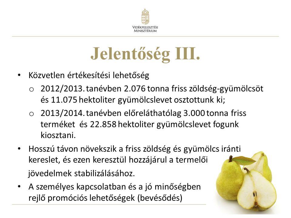 23 Jelentőség III. Közvetlen értékesítési lehetőség o 2012/2013. tanévben 2.076 tonna friss zöldség-gyümölcsöt és 11.075 hektoliter gyümölcslevet oszt