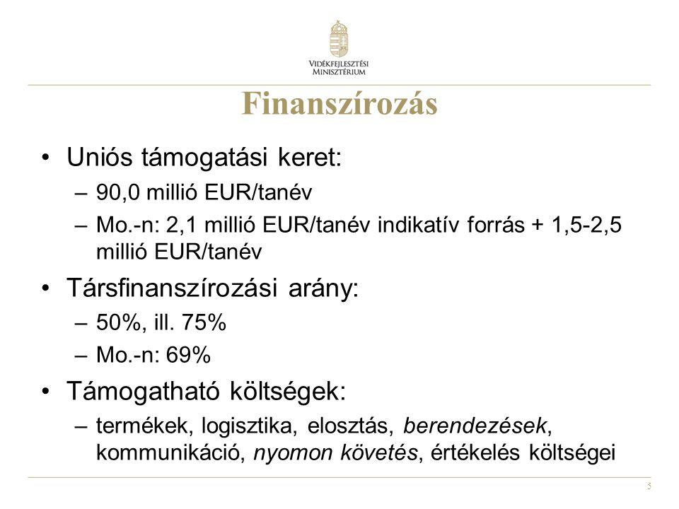 5 Finanszírozás Uniós támogatási keret: –90,0 millió EUR/tanév –Mo.-n: 2,1 millió EUR/tanév indikatív forrás + 1,5-2,5 millió EUR/tanév Társfinanszíro