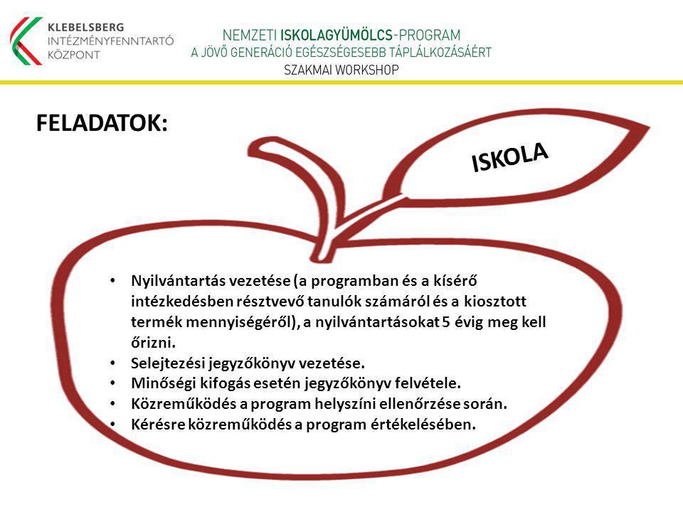 Nyilvántartás vezetése (a programban és a kísérő intézkedésben résztvevő tanulók számáról és a kiosztott termék mennyiségéről), a nyilvántartásokat 5