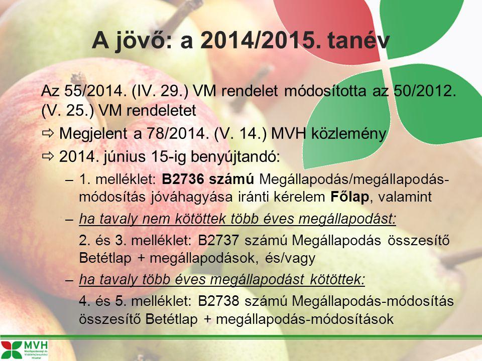A jövő: a 2014/2015. tanév Az 55/2014. (IV. 29.) VM rendelet módosította az 50/2012.