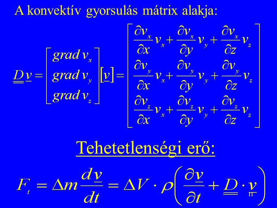 11 A konvektív gyorsulás mátrix alakja: Tehetetlenségi erő: