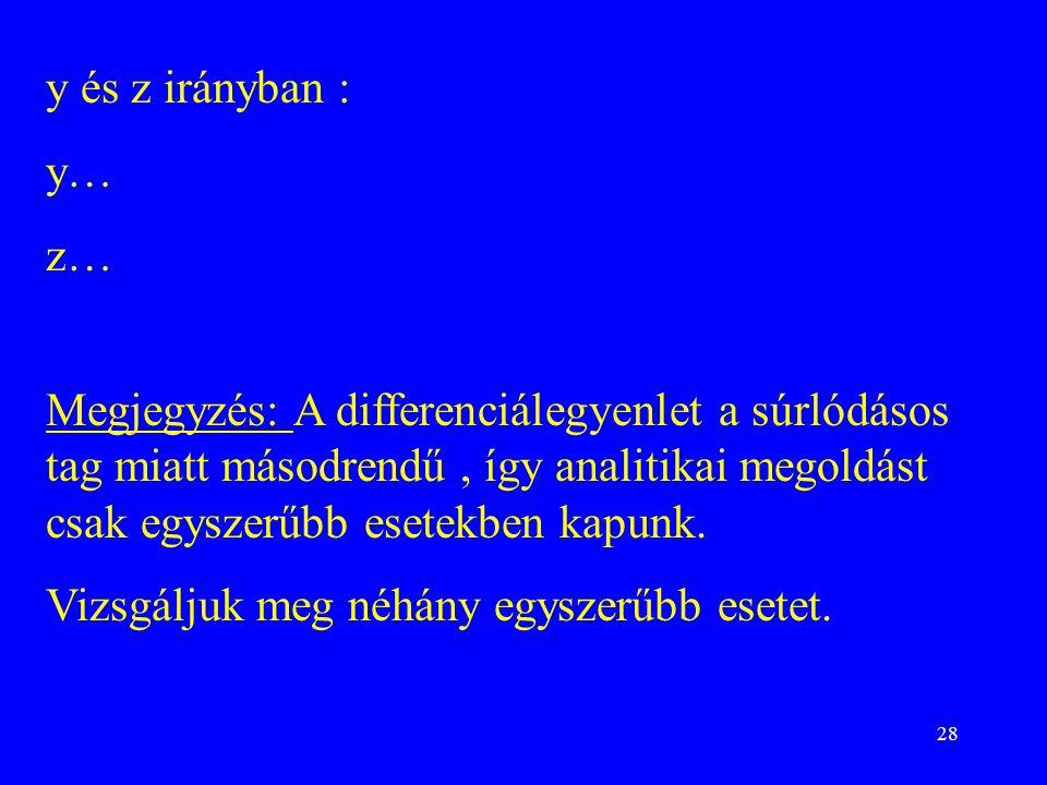 28 y és z irányban : y… z… Megjegyzés: A differenciálegyenlet a súrlódásos tag miatt másodrendű, így analitikai megoldást csak egyszerűbb esetekben kapunk.