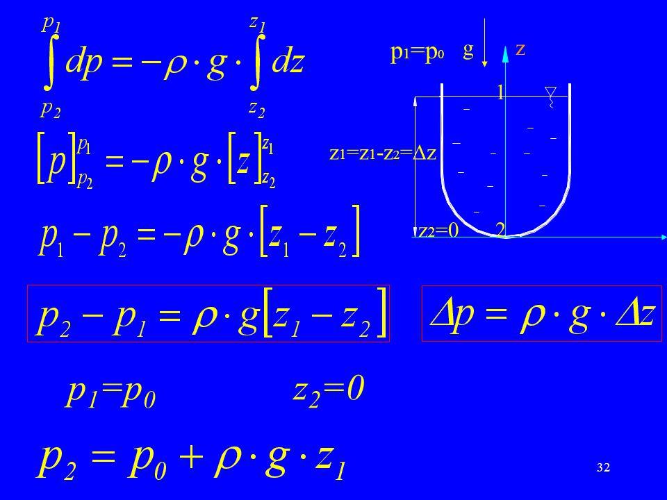 32 p 1 =p 0 z 2 =0 zg p 1 =p 0 1 z 1 =z 1 -z 2 =  z z 2 =02