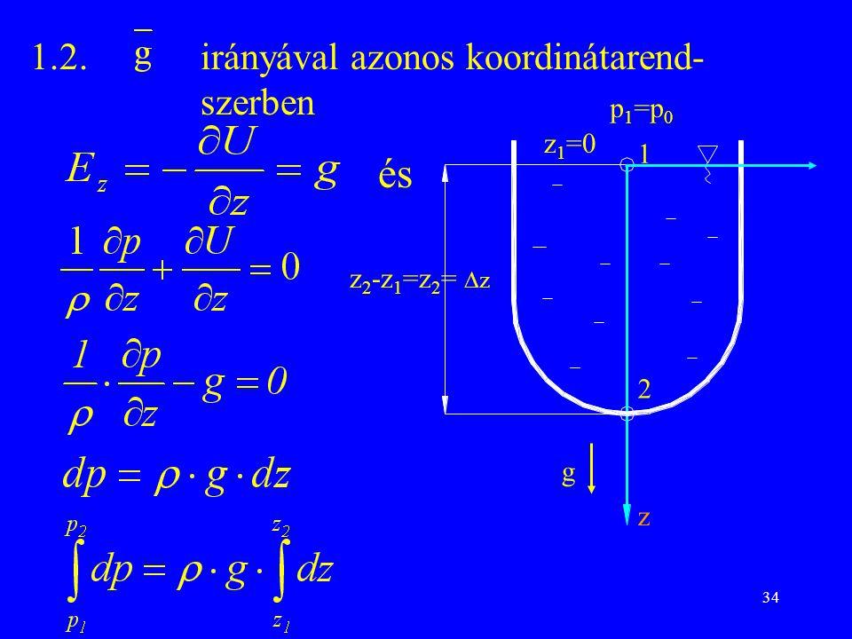 34 1.2.irányával azonos koordinátarend- szerben z 2 -z 1 =z 2 =  z p 1 =p 0 1 2 z 1 =0 z g és