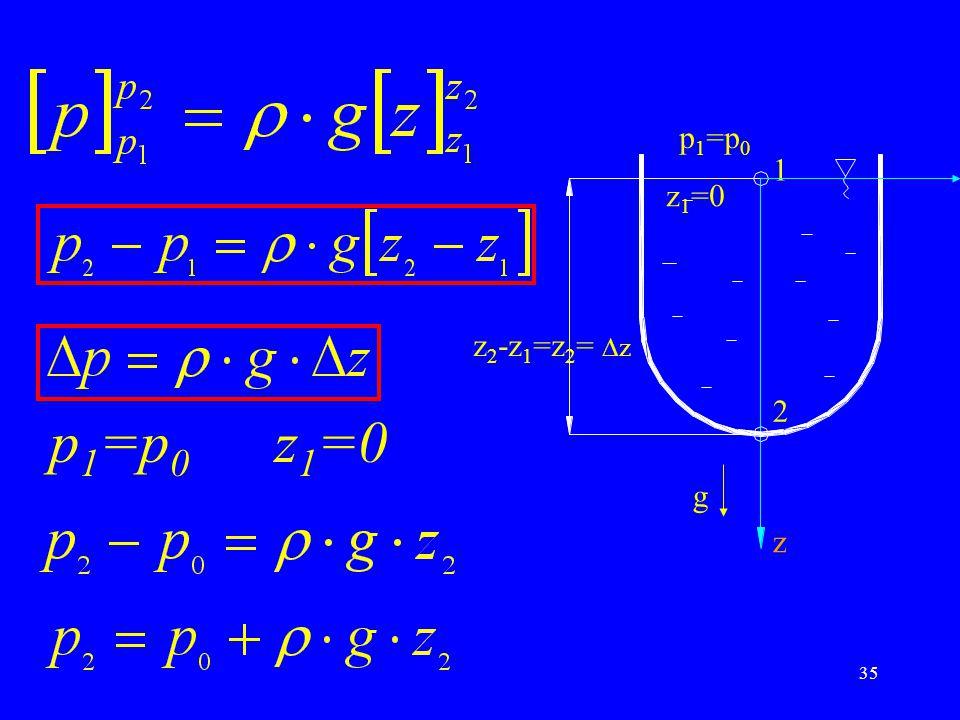 35 p 1 =p 0 z 1 =0 p 1 =p 0 1 2 z 1 =0 z g z 2 -z 1 =z 2 =  z