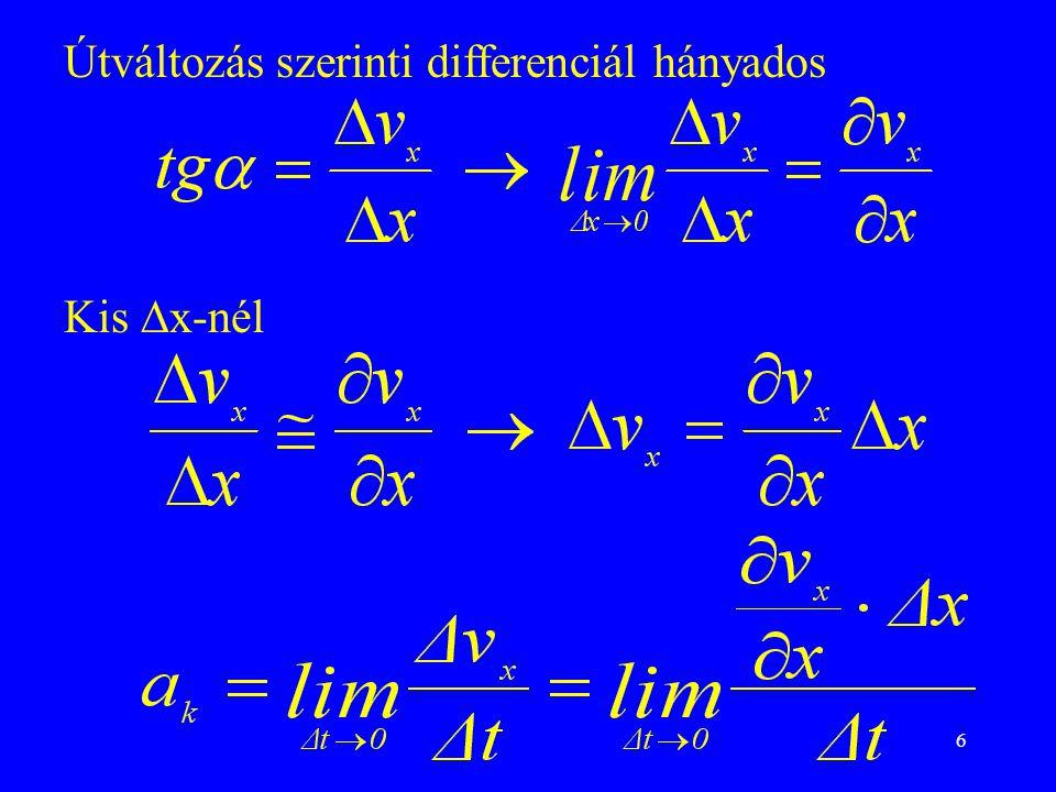 6 Útváltozás szerinti differenciál hányados Kis  x-nél