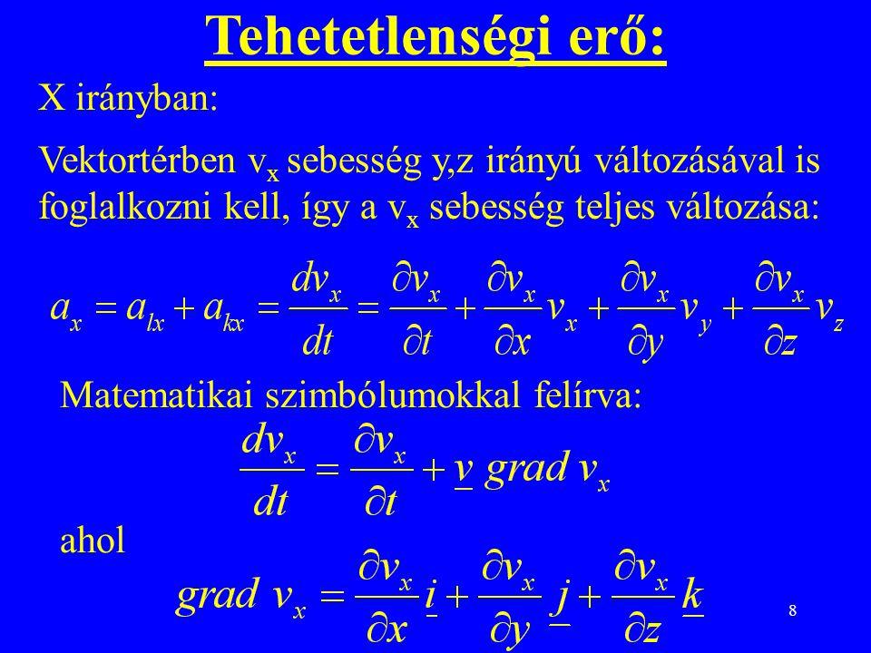 8 Tehetetlenségi erő: X irányban: Vektortérben v x sebesség y,z irányú változásával is foglalkozni kell, így a v x sebesség teljes változása: Matematikai szimbólumokkal felírva: ahol
