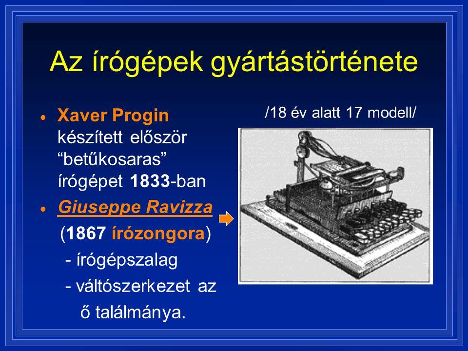 """Az írógépek gyártástörténete  Xaver Progin készített először """"betűkosaras"""" írógépet 1833-ban  Giuseppe Ravizza (1867 írózongora) - írógépszalag - vá"""