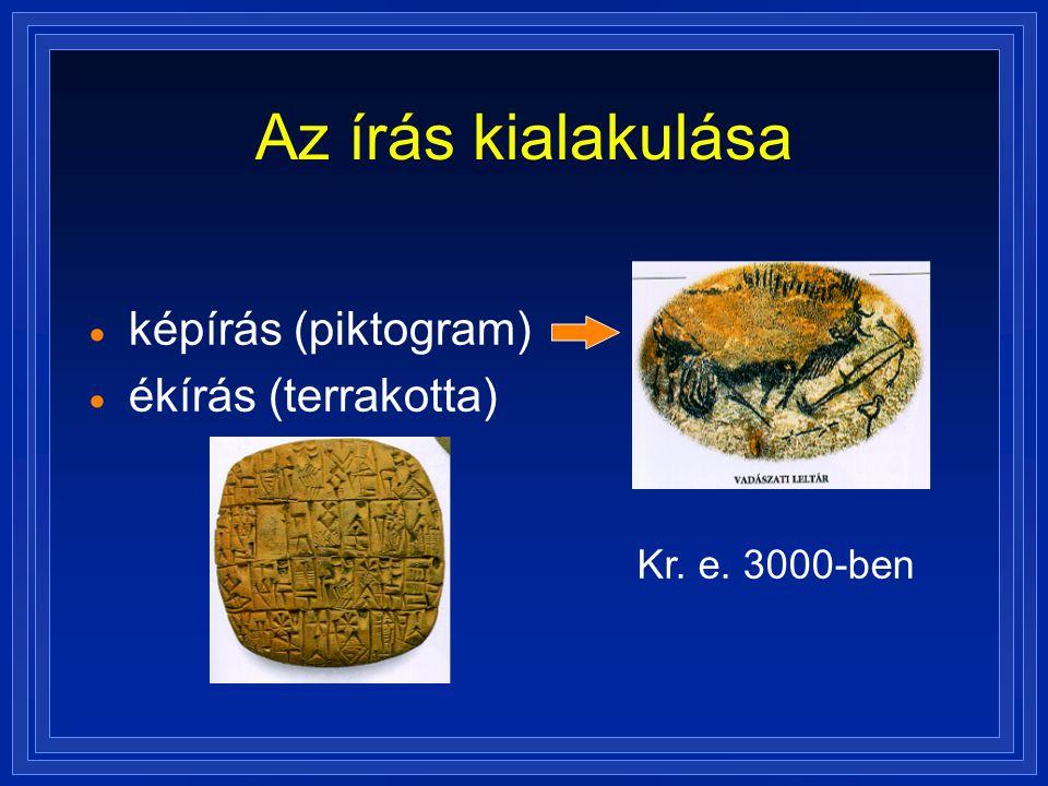 Az írás kialakulása  képírás (piktogram)  ékírás (terrakotta) Kr. e. 3000-ben