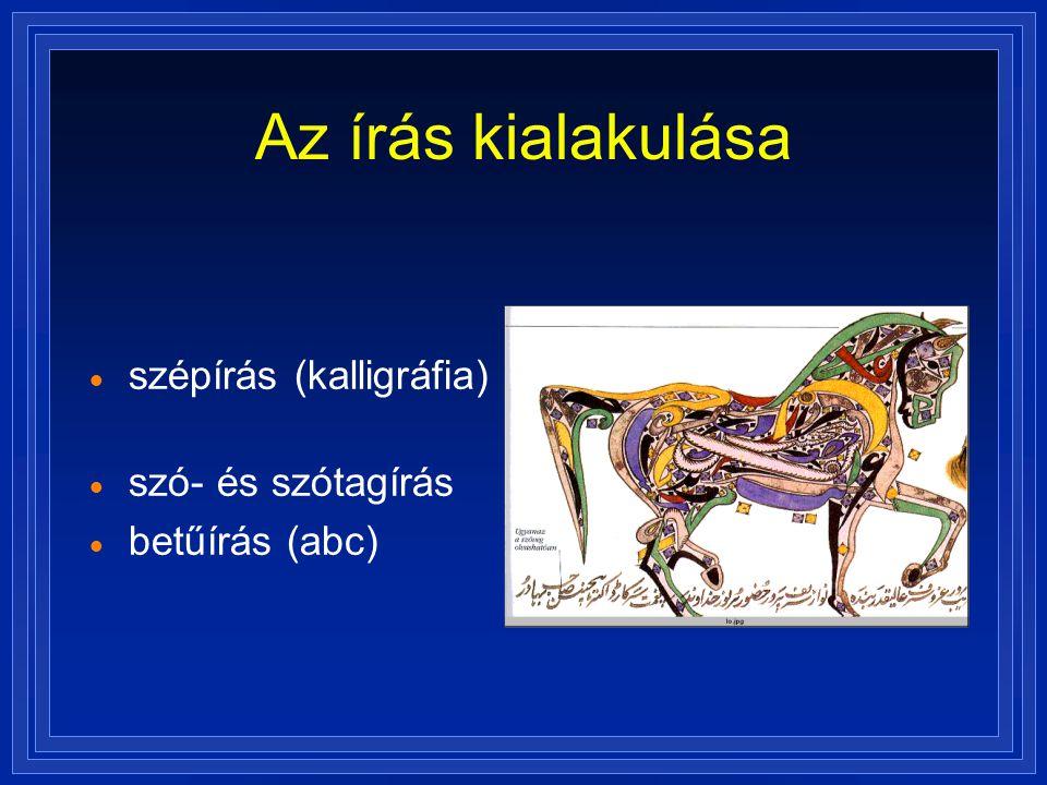 Az írás kialakulása  szépírás (kalligráfia)  szó- és szótagírás  betűírás (abc)