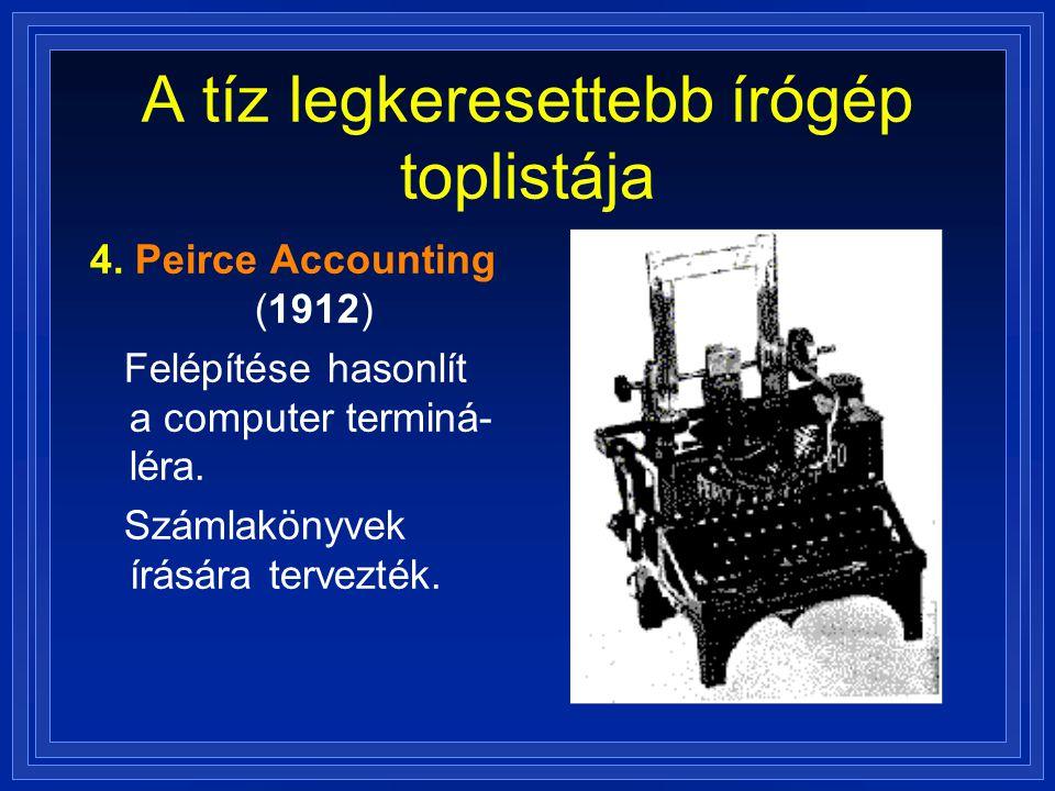 A tíz legkeresettebb írógép toplistája 4. Peirce Accounting (1912) Felépítése hasonlít a computer terminá- léra. Számlakönyvek írására tervezték.