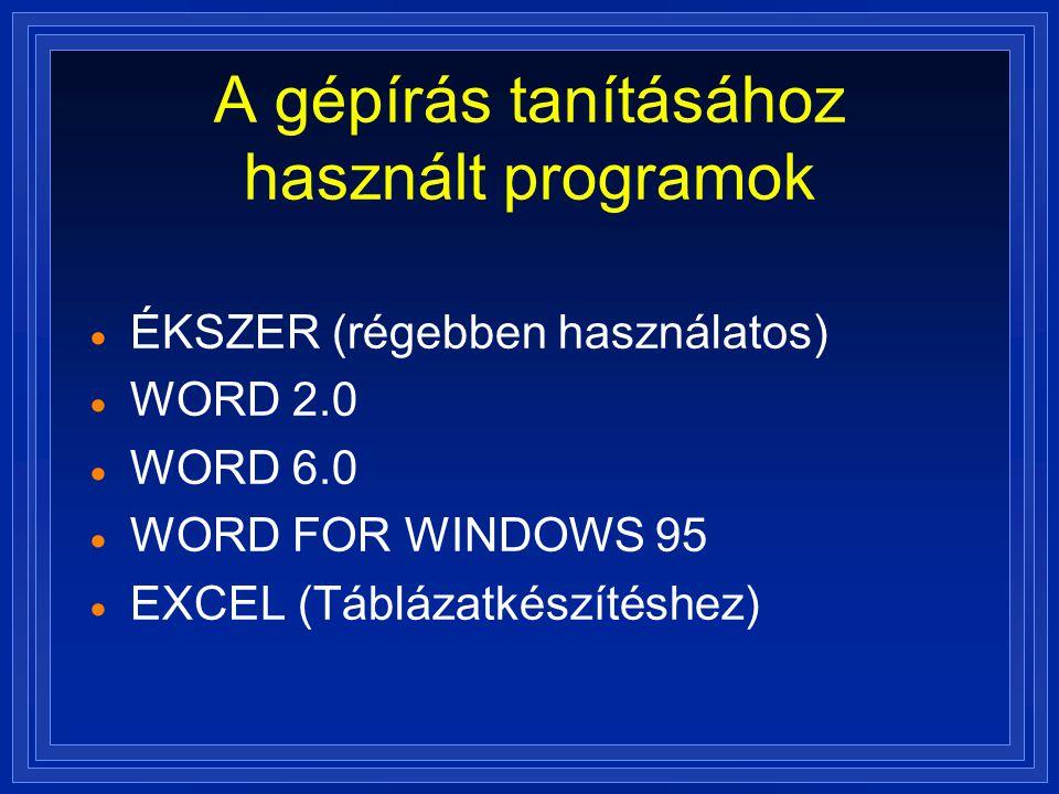 A gépírás tanításához használt programok  ÉKSZER (régebben használatos)  WORD 2.0  WORD 6.0  WORD FOR WINDOWS 95  EXCEL (Táblázatkészítéshez)