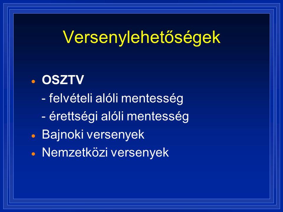Versenylehetőségek  OSZTV - felvételi alóli mentesség - érettségi alóli mentesség  Bajnoki versenyek  Nemzetközi versenyek