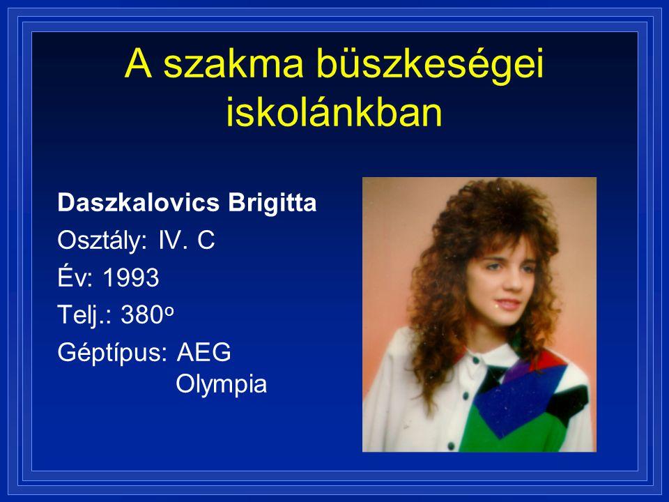 A szakma büszkeségei iskolánkban Daszkalovics Brigitta Osztály: IV. C Év: 1993 Telj.: 380 o Géptípus: AEG Olympia
