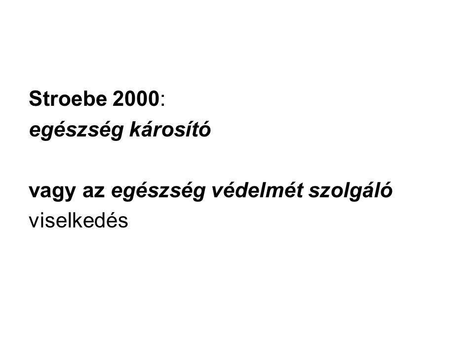 Stroebe 2000: egészség károsító vagy az egészség védelmét szolgáló viselkedés