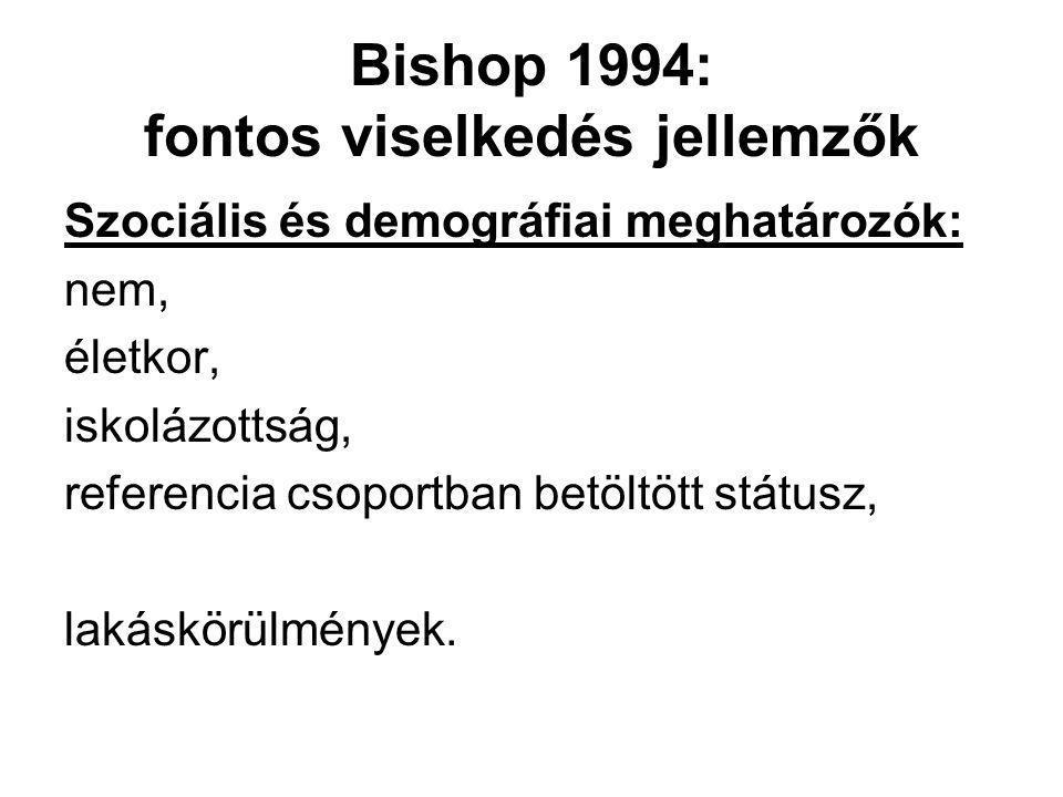 Bishop 1994: fontos viselkedés jellemzők Szociális és demográfiai meghatározók: nem, életkor, iskolázottság, referencia csoportban betöltött státusz,