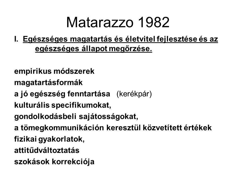 Matarazzo 1982 I. Egészséges magatartás és életvitel fejlesztése és az egészséges állapot megőrzése. empirikus módszerek magatartásformák a jó egészsé