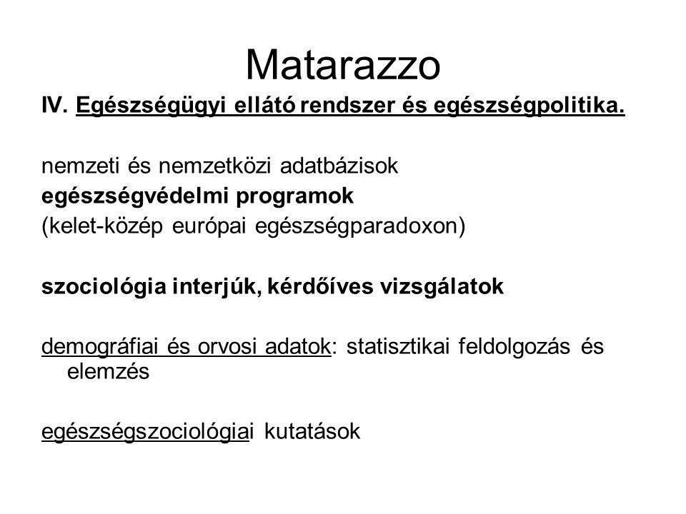 Matarazzo IV. Egészségügyi ellátó rendszer és egészségpolitika. nemzeti és nemzetközi adatbázisok egészségvédelmi programok (kelet-közép európai egész
