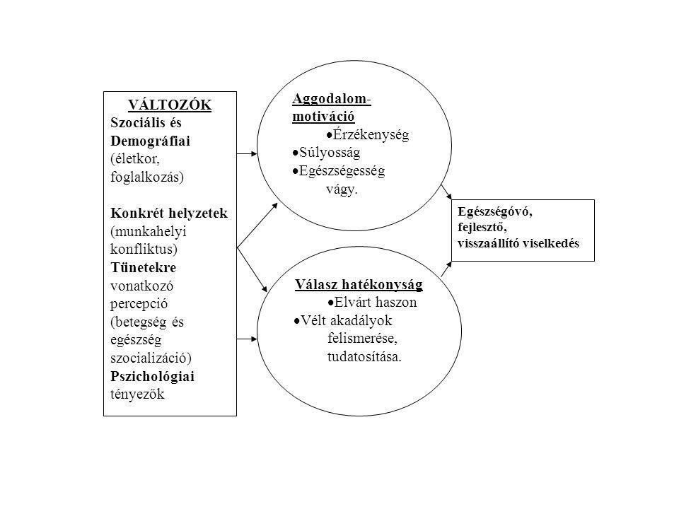 VÁLTOZÓK Szociális és Demográfiai (életkor, foglalkozás) Konkrét helyzetek (munkahelyi konfliktus) Tünetekre vonatkozó percepció (betegség és egészség