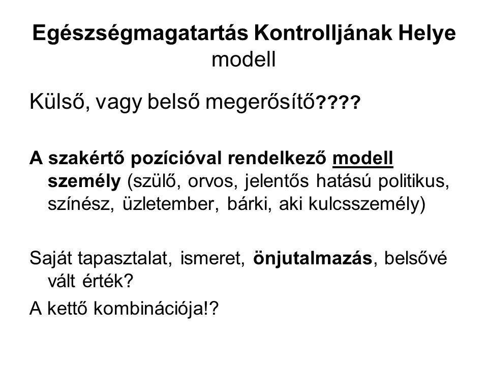 Egészségmagatartás Kontrolljának Helye modell Külső, vagy belső megerősítő ???? A szakértő pozícióval rendelkező modell személy (szülő, orvos, jelentő
