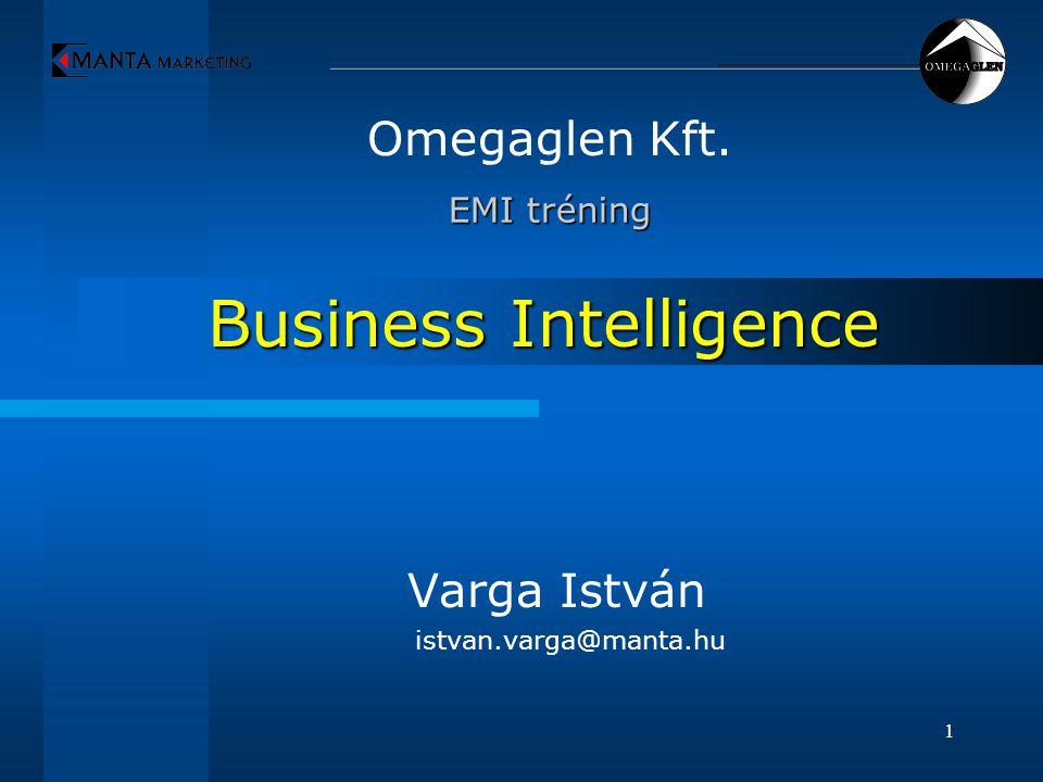 1 Business Intelligence Omegaglen Kft. EMI tréning EMI tréning Varga István istvan.varga@manta.hu