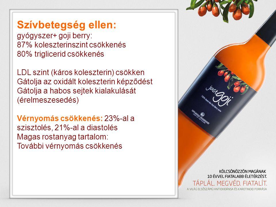 Szívbetegség ellen: gyógyszer+ goji berry: 87% koleszterinszint csökkenés 80% triglicerid csökkenés LDL szint (káros koleszterin) csökken Gátolja az o
