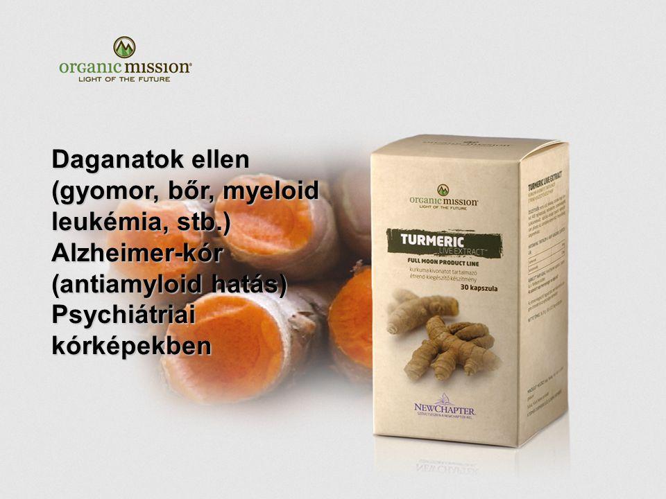 Daganatok ellen (gyomor, bőr, myeloid leukémia, stb.) Alzheimer-kór (antiamyloid hatás) Psychiátriai kórképekben