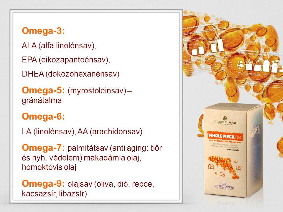 Omega-3: ALA (alfa linolénsav), EPA (eikozapantoénsav), DHEA (dokozohexanénsav) Omega-5: (myrostoleinsav) – gránátalma Omega-6: LA (linolénsav), AA (a
