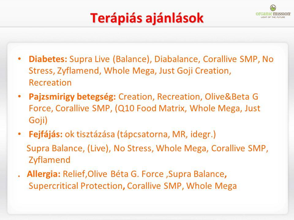 Terápiás ajánlások Diabetes: Supra Live (Balance), Diabalance, Corallive SMP, No Stress, Zyflamend, Whole Mega, Just Goji Creation, Recreation Pajzsmi