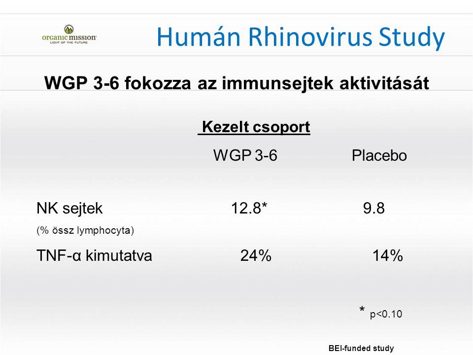 Kezelt csoport WGP 3-6 Placebo NK sejtek 12.8* 9.8 (% össz lymphocyta) TNF-α kimutatva 24% 14% * p<0.10 WGP 3-6 fokozza az immunsejtek aktivitását BEI