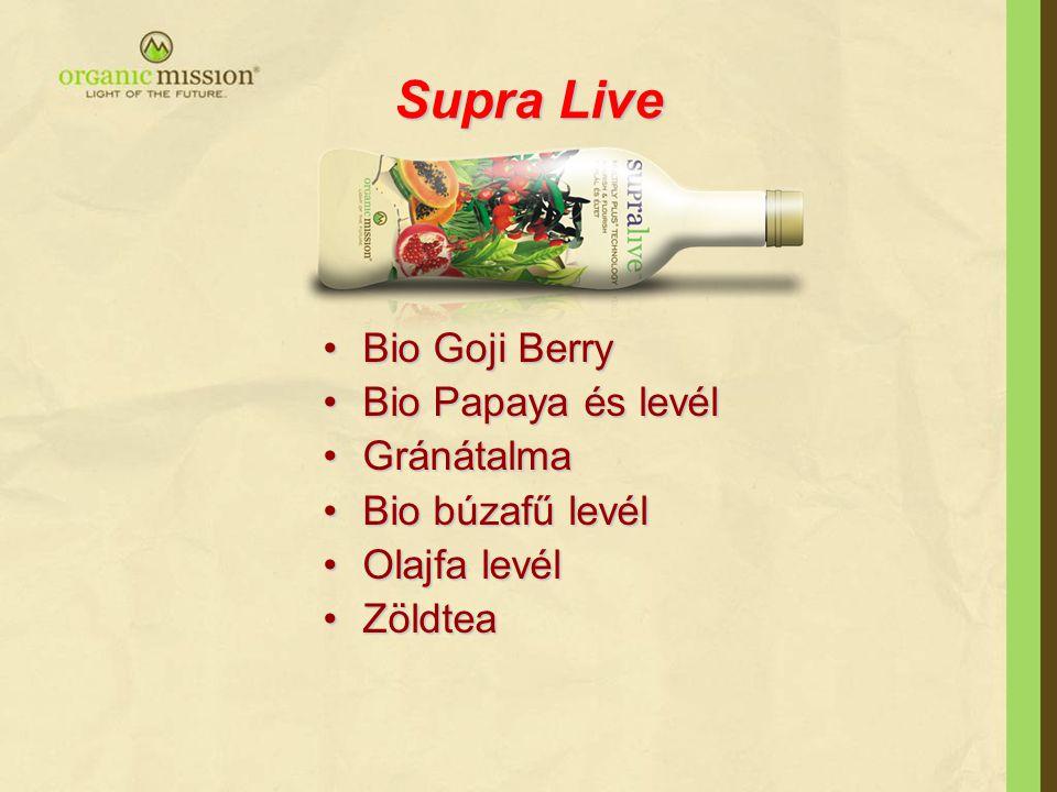 Supra Live Bio Goji BerryBio Goji Berry Bio Papaya és levélBio Papaya és levél GránátalmaGránátalma Bio búzafű levélBio búzafű levél Olajfa levélOlajfa levél ZöldteaZöldtea