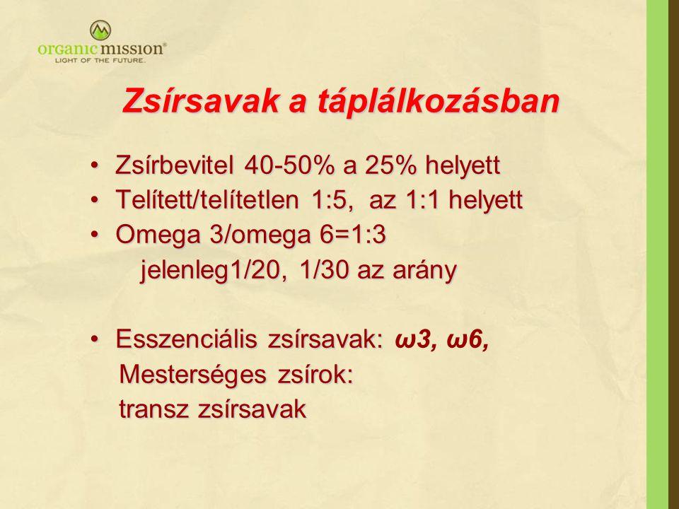 Zsírsavak a táplálkozásban Zsírbevitel 40-50% a 25% helyettZsírbevitel 40-50% a 25% helyett Telített/telítetlen 1:5, az 1:1 helyettTelített/telítetlen 1:5, az 1:1 helyett Omega 3/omega 6=1:3Omega 3/omega 6=1:3 jelenleg1/20, 1/30 az arány jelenleg1/20, 1/30 az arány Esszenciális zsírsavak:Esszenciális zsírsavak: ω3, ω6, Mesterséges zsírok: Mesterséges zsírok: transz zsírsavak transz zsírsavak