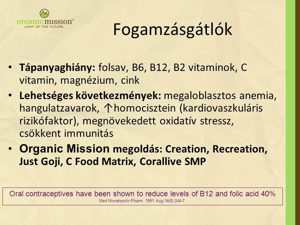 Fogamzásgátlók Tápanyaghiány: folsav, B6, B12, B2 vitaminok, C vitamin, magnézium, cink Lehetséges következmények: megaloblasztos anemia, hangulatzava