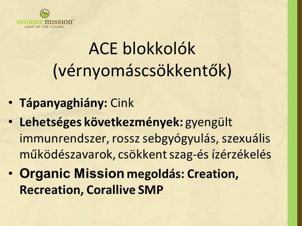 ACE blokkolók (vérnyomáscsökkentők) Tápanyaghiány: Cink Lehetséges következmények: gyengült immunrendszer, rossz sebgyógyulás, szexuális működészavaro