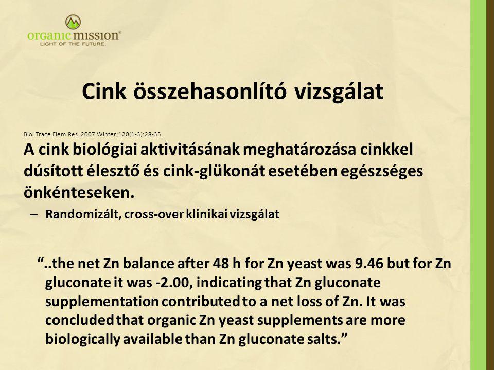Cink összehasonlító vizsgálat Biol Trace Elem Res. 2007 Winter;120(1-3):28-35. A cink biológiai aktivitásának meghatározása cinkkel dúsított élesztő é