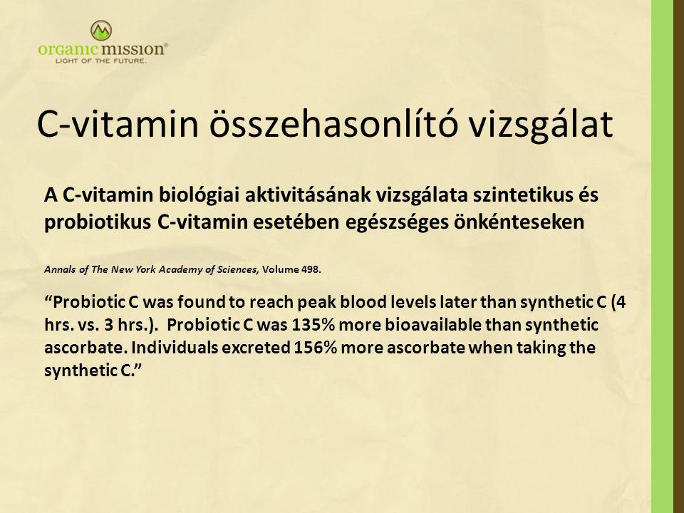 A C-vitamin biológiai aktivitásának vizsgálata szintetikus és probiotikus C-vitamin esetében egészséges önkénteseken Annals of The New York Academy of