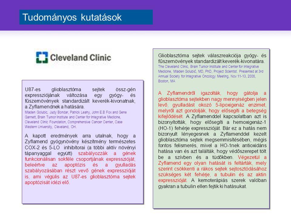 Glioblasztóma sejtek válaszreakciója gyógy- és fűszernövények standardizált keverék-kivonatára.