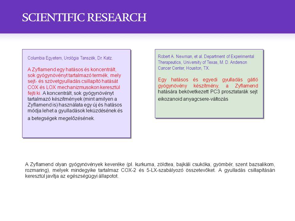 Columbia Egyetem, Urológia Tanszék, Dr. Katz. A Zyflamend egy hatásos és koncentrált, sok gyógynövényt tartalmazó termék, mely sejt- és szövetgyulladá