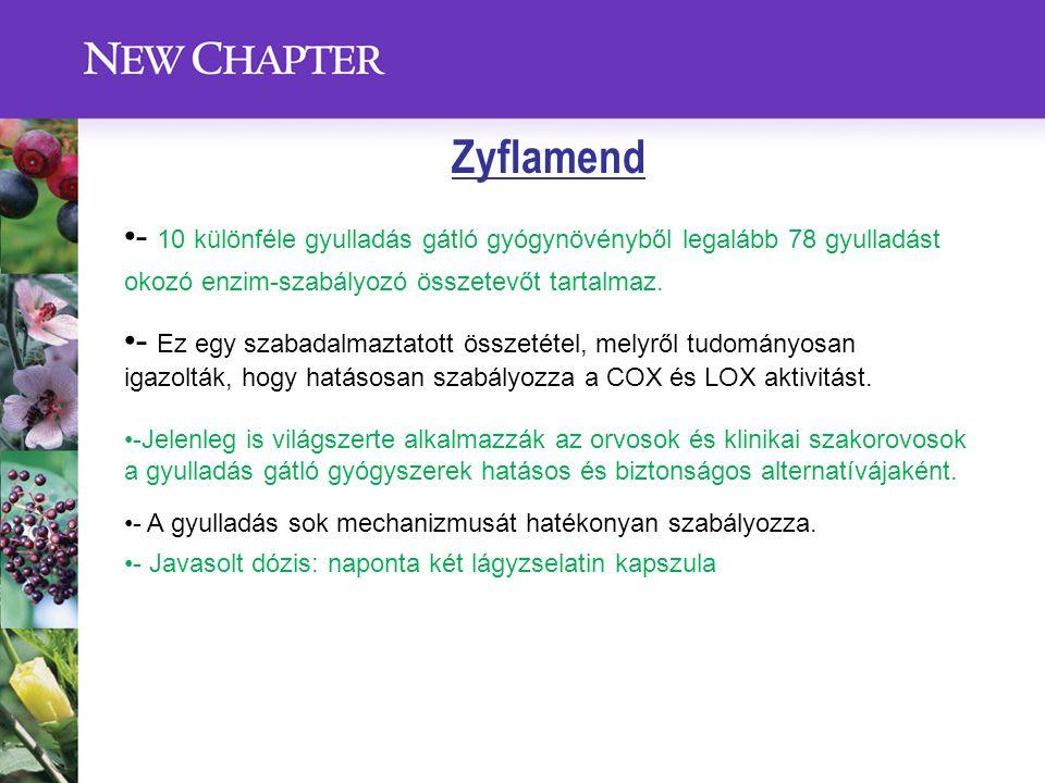 Zyflamend - 10 különféle gyulladás gátló gyógynövényből legalább 78 gyulladást okozó enzim-szabályozó összetevőt tartalmaz.