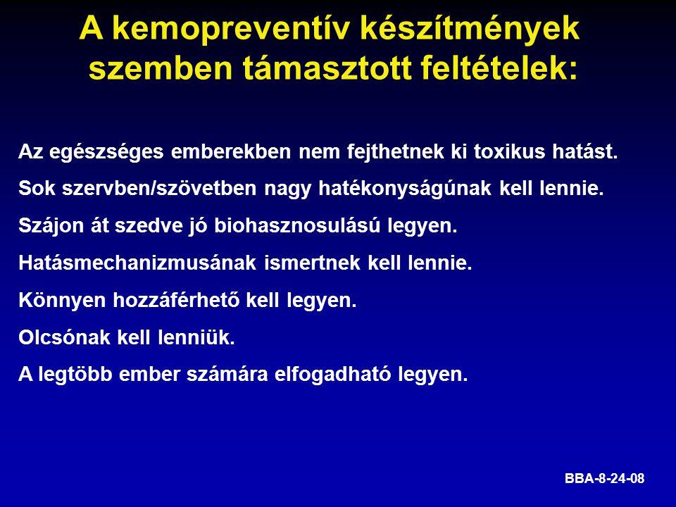 A kemopreventív készítmények szemben támasztott feltételek: BBA-8-24-08 Az egészséges emberekben nem fejthetnek ki toxikus hatást. Sok szervben/szövet