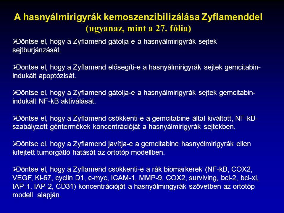 A hasnyálmirigyrák kemoszenzibilizálása Zyflamenddel (ugyanaz, mint a 27. fólia)  Döntse el, hogy a Zyflamend gátolja-e a hasnyálmirigyrák sejtek sej