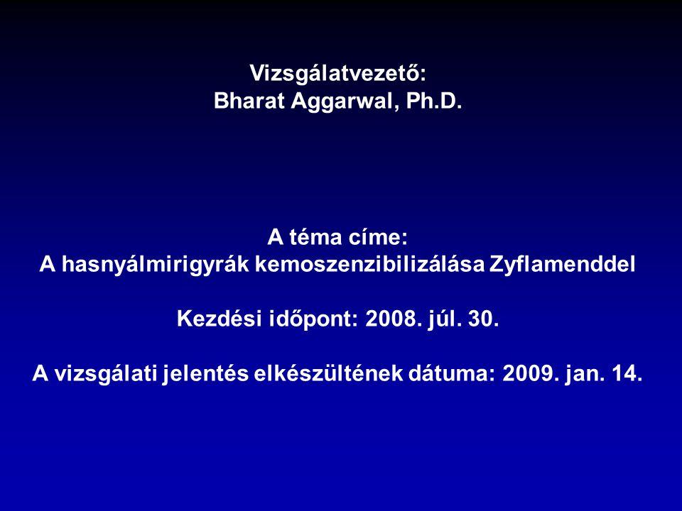 Vizsgálatvezető: Bharat Aggarwal, Ph.D. A téma címe: A hasnyálmirigyrák kemoszenzibilizálása Zyflamenddel Kezdési időpont: 2008. júl. 30. A vizsgálati