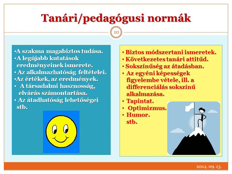 Tanári/pedagógusi normák Biztos módszertani ismeretek. Biztos módszertani ismeretek. Következetes tanári attitűd. Következetes tanári attitűd. Sokszín