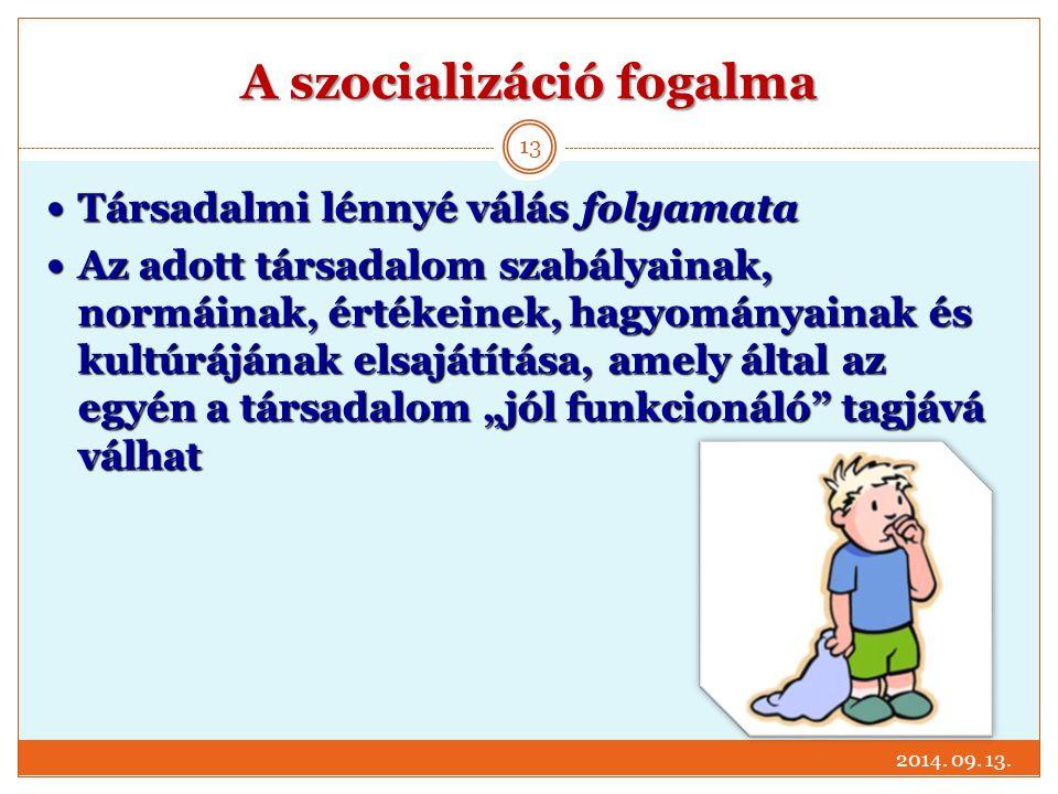 A szocializáció fogalma Társadalmi lénnyé válás folyamata Társadalmi lénnyé válás folyamata Az adott társadalom szabályainak, normáinak, értékeinek, h