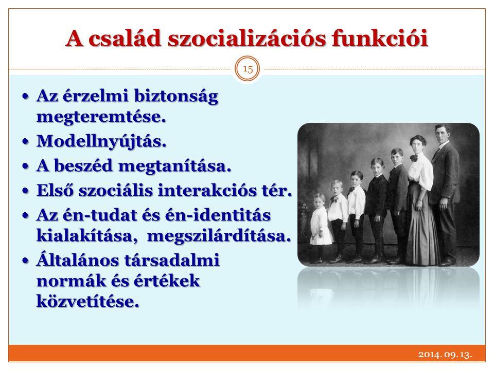 A család szocializációs funkciói Az érzelmi biztonság megteremtése. Az érzelmi biztonság megteremtése. Modellnyújtás. Modellnyújtás. A beszéd megtanít